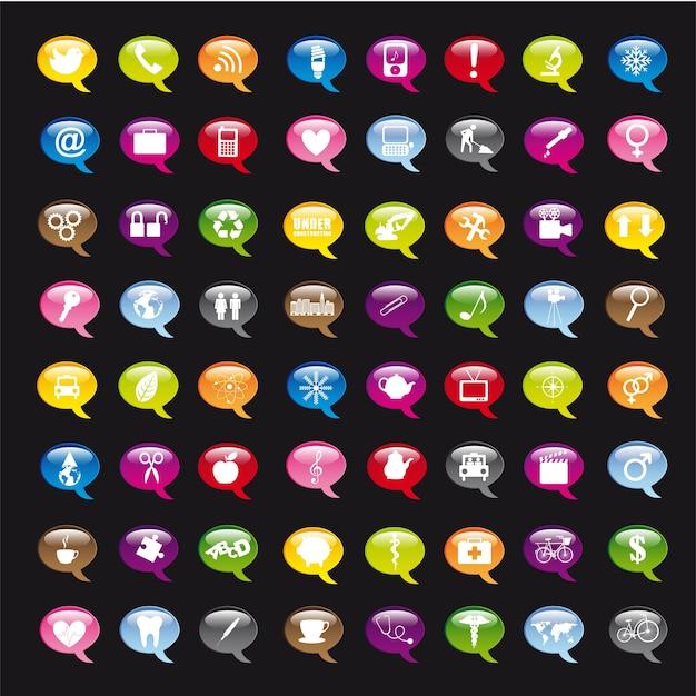 Bunte ikonen über schwarzer hintergrundvektorillustration