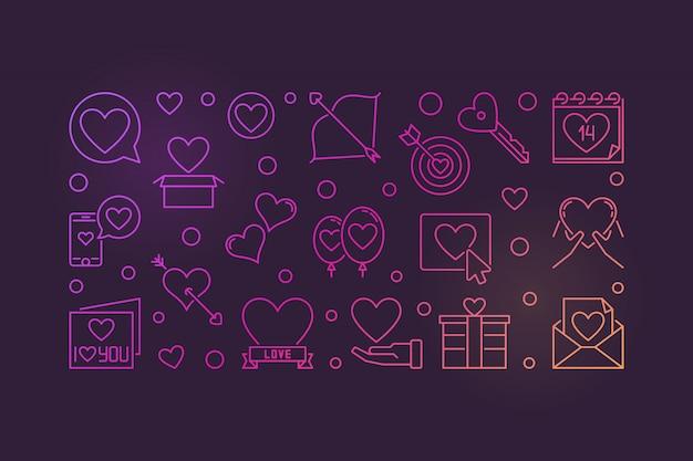 Bunte ikonenillustration des valentinstagentwurfs