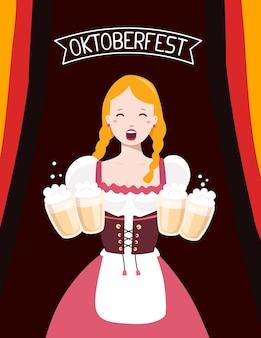 Bunte illustration der deutschen mädchenkellnerin in den traditionellen kleidern, die gelbe bierkrüge, flaggenband, text auf dunklem hintergrund halten. oktoberfest und begrüßung.