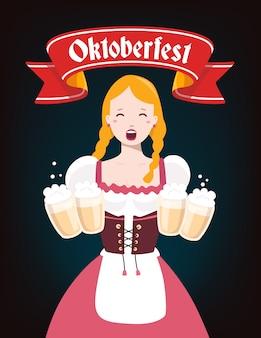 Bunte illustration der deutschen mädchenkellnerin in der traditionellen kleidung, die gelbe bierkrüge, rotes band, text auf dunklem hintergrund hält. oktoberfest und begrüßung.