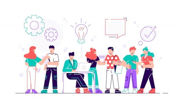 Bunte illustration der kommunikation über das internet, soziale netzwerke, chat, video, nachrichten, nachrichten, website, suche freunde, mobile webgrafiken. moderne designillustration des flachen stils.