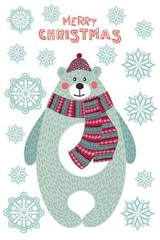 Bunte illustration der kunst weihnachtsmit niedlichem cartoonbären und -schneeflocken.