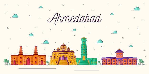 Bunte illustration der skyline von ahmedabad