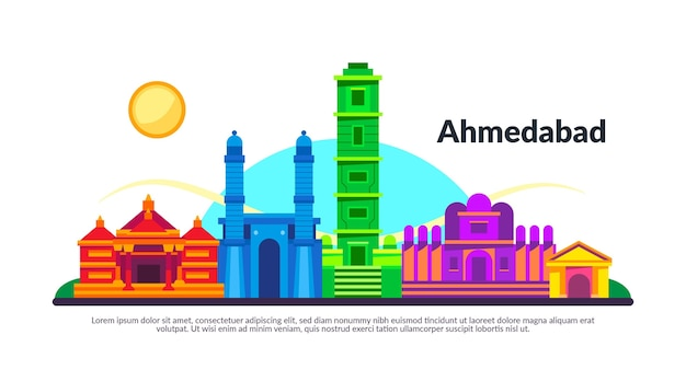 Bunte illustration der skyline von ahmedabad