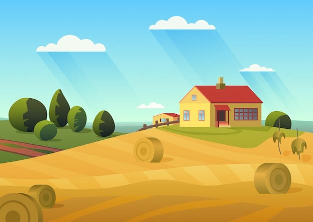 Bunte illustration des bauernhauses in der landschaft mit goldenen heuhaufen und blauem himmel