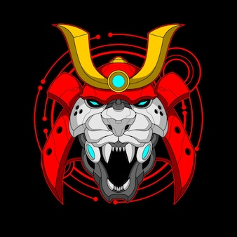 Bunte illustration des cyber-samurai-tigers