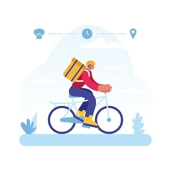 Bunte illustration des fahrrads des männlichen kuriercharakters, der express-lebensmittellieferservice vom restaurant zum kunden darstellt