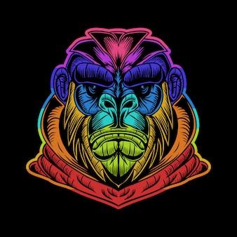 Bunte illustration des gorilla hoodie