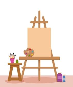 Bunte illustration des innenraums des kunststudios. maler künstler werkstattraum mit werkzeugen: leinwand, staffelei, farben, palette, pinsel, bleistifte