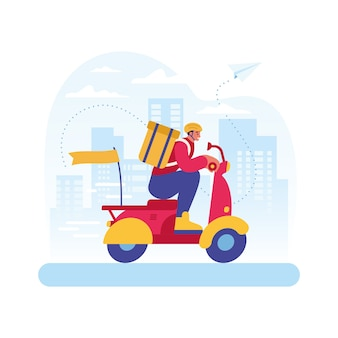 Bunte illustration des liefermanncharakters, der roller auf straßen der stadt reitet, der schnellen restaurantlebensmittellieferservice darstellt