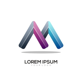 Bunte illustration des m-buchstaben-logos
