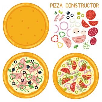 Bunte illustration des pizzakonstruktors. flache pizza basis mit zutaten