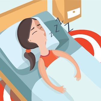 Bunte illustration des schlafenden mädchens in ihrem bett