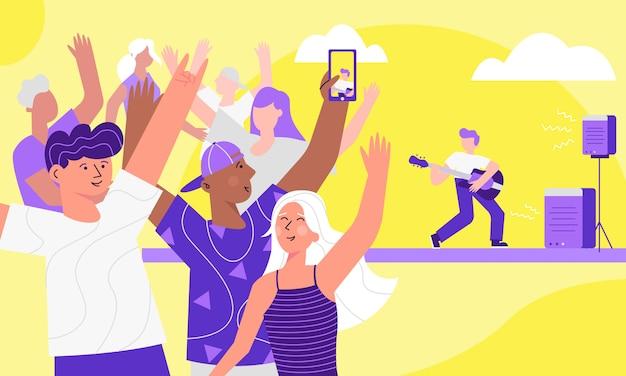 Bunte illustration des sommermusikfestivals