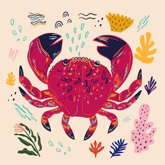 Bunte illustration des vektors mit netter lustiger krabbe