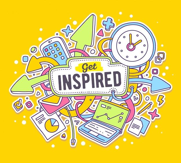 Bunte illustration des vektors von büroobjekten mit text auf gelbem hintergrund. lassen sie sich inspirieren.