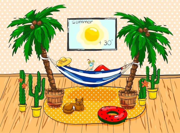 Bunte illustration. ein mädchen in einer hängematte zwischen den palmen zu hause.