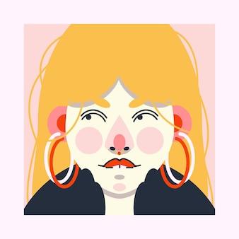 Bunte illustration einer schönen stilvollen dame