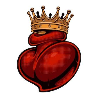 Bunte illustration eines tattoos, das in einer krone gehört wird
