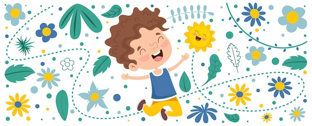 Bunte illustration für glücklichen kindertag