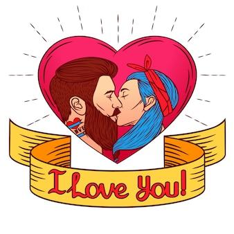 Bunte illustration für valentinstagskarte. stellen sie sich einen mann vor, der eine frau küsst. zwei junge leute küssen auf dem herzhintergrund der rosa farbe mit dem text