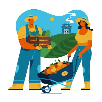 Bunte illustration mit landwirtschaftskonzept