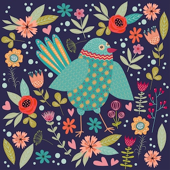 Bunte illustration mit schönem abstraktem volksvogel und blumen. kunstwerke zur dekoration ihres interieurs und zur verwendung in ihrem einzigartigen design