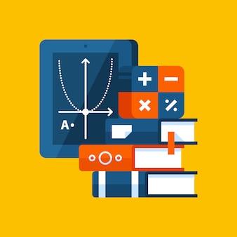 Bunte illustration über algebra in der modernen flachen art