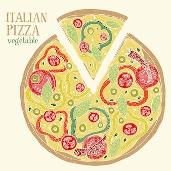 Bunte illustration von italienischen pizza-pepperonis. hand gezeichnete vektorlebensmittelillustration.