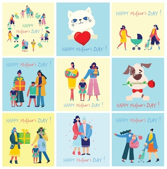 Bunte illustrationskonzepte des glücklichen muttertags. mütter mit den kindern im flachen design für grußkarten, plakate und hintergründe