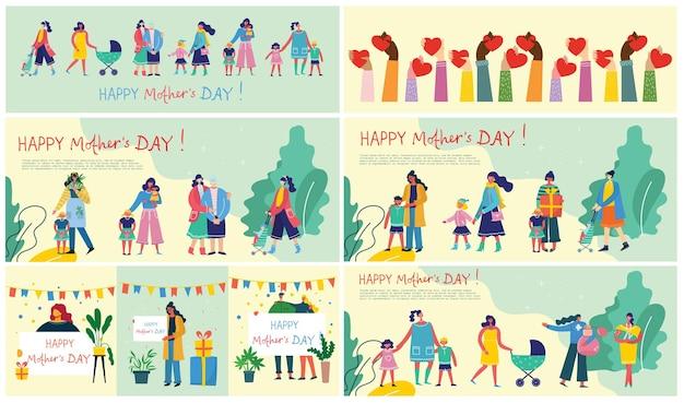 Bunte illustrationskonzepte des glücklichen muttertags