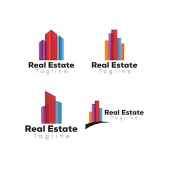 Bunte Immobilien Gebäude Logo Vorlage