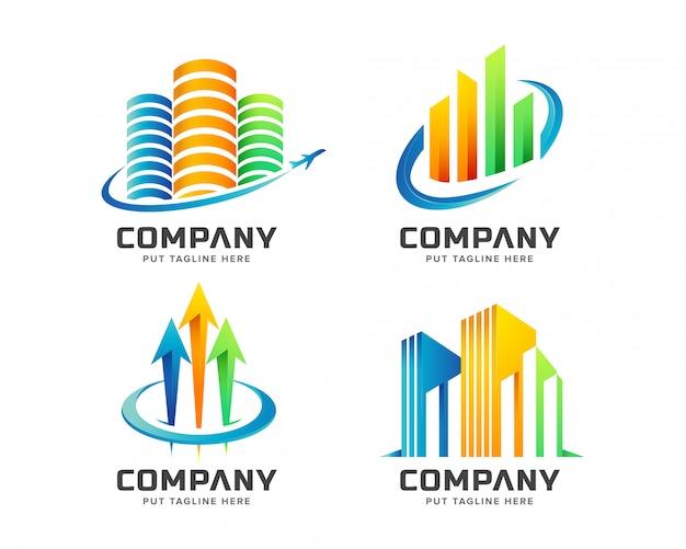 Bunte immobilien logo set sammlung