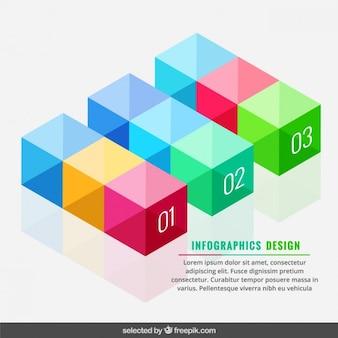Bunte infografik cubes