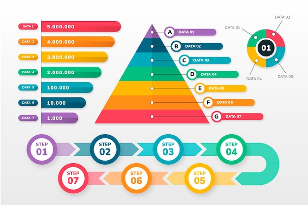 Bunte infografik-elementsammlung