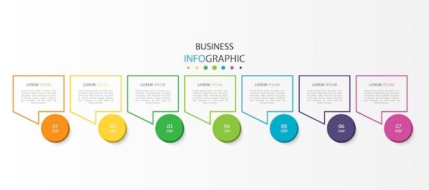 Bunte infografik mit 7 schritten oder optionen