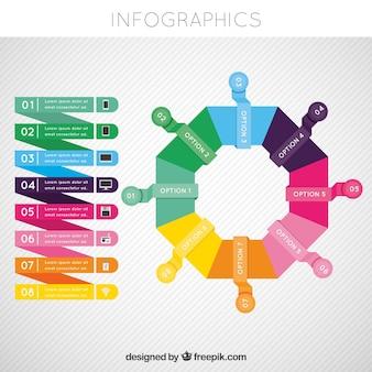 Bunte infografik-vorlage mit geometrischem stil