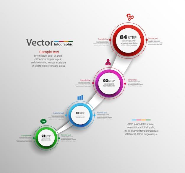 Bunte infografik-vorlage mit vier schritten