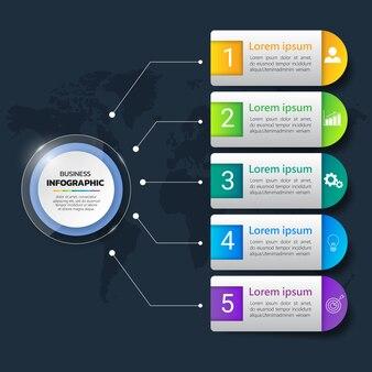 Bunte infografiken vorlage 5 optionen.