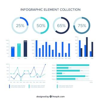 Bunte infographic elementansammlung in der flachen art