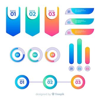 Bunte infographic elemente mit steigungseffekt