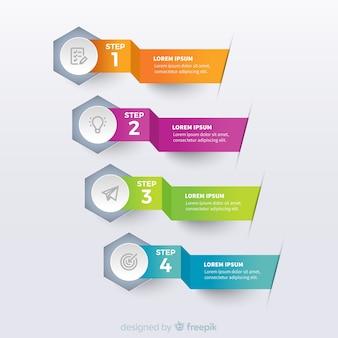 Bunte infographic Schablone des Origamis