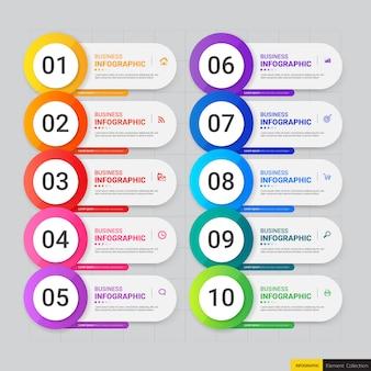 Bunte infographic schablone mit zehn schritten