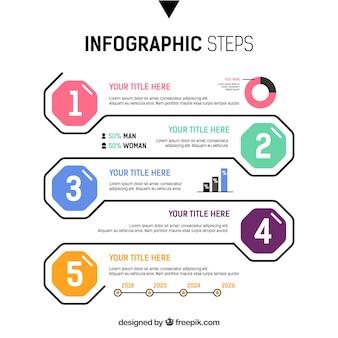 Bunte infographic schritte in der flachen art