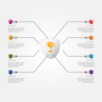 Bunte infographik vorlage mit trophäe und schilde