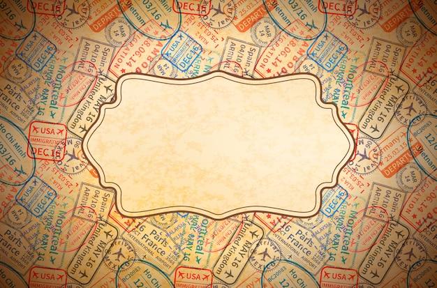 Bunte internationale reisevisum-stempelabdrücke auf altem papier mit retro-rahmen, horizontaler weinlesehintergrund