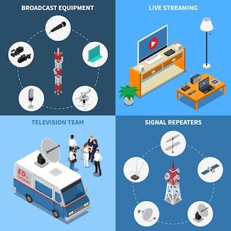 Bunte isometrische 2x2-telekommunikationsikonen, die mit verschiedenen fernsehteams der rundfunkausrüstung eingestellt werden