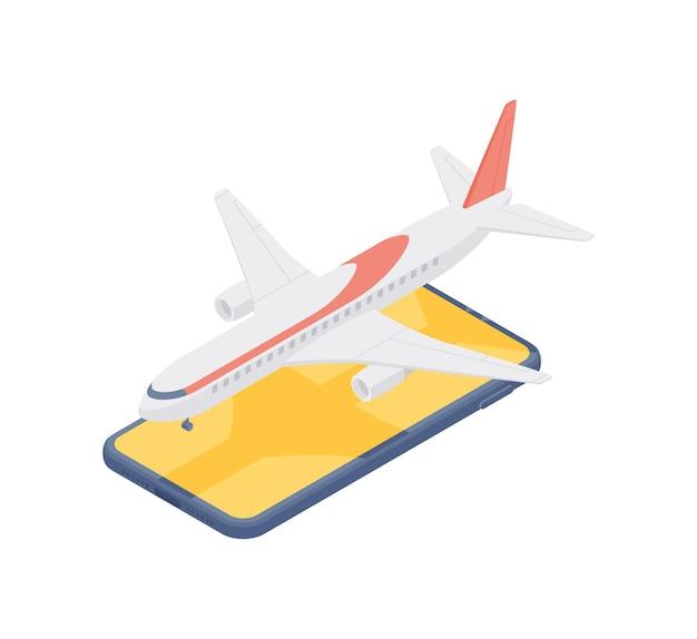 Bunte isometrische 3d-illustration des modernen flugzeugs, das auf dem handybildschirm dargestellt wird