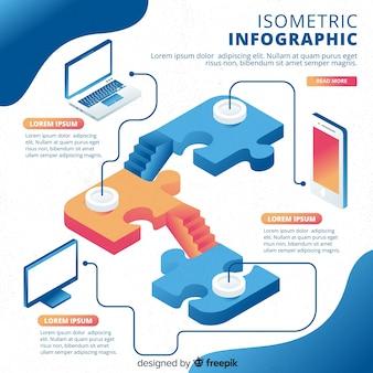 Bunte isometrische infografiken vorlage