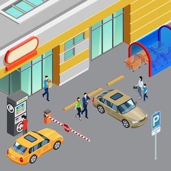Bunte isometrische zusammensetzung mit verkaufsautomat auf parkzone nahe einkaufszentrum 3d vektorillustration